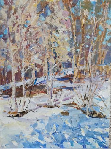 «Зимний лес» Картон, масло, 25х40