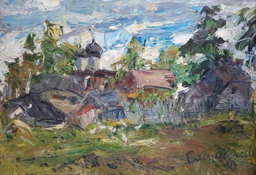 «Моя деревня» Картон, масло, 90х60