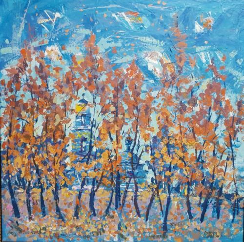 «Осень в бирюзе» Картон, масло, 50х50
